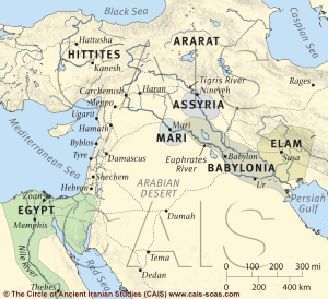 A map showing the location of major ancient polities of Mesopotamia, the Levant, and Egypt