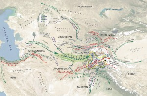 A detailed map of the possible migration routes of the Indo-Iranian tribes