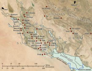 Map of the major sites in Elam and Sumer