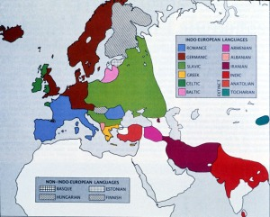 Schematic map of major Indo-European language groups