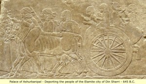 Assyrian victory relief of Ashirbanipal, showing Elamites being deported