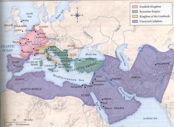 Map of the greatest extent of the Umayyad Caliphate (ca. AD 750)