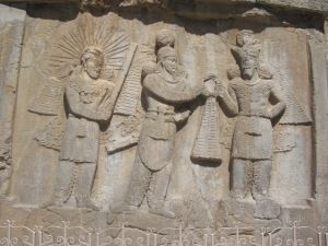 Shapur II and Ardashir II, concluding an agreement under the watchful eye of Mithra, the god of contracts.