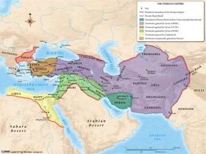 Map showing the extent of the Achaemenid Empire, with the region of Persis showing in dark green,