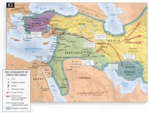 A (bit fanciful) map of the conquests of Cyrus.