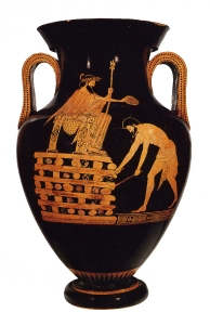 "A famous vase showing Croesus on his ""suicide"" pyre..."