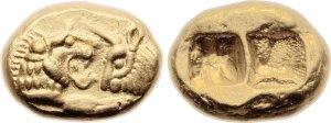 A Lydian coin... notice that the reverse is just a hollow blank.